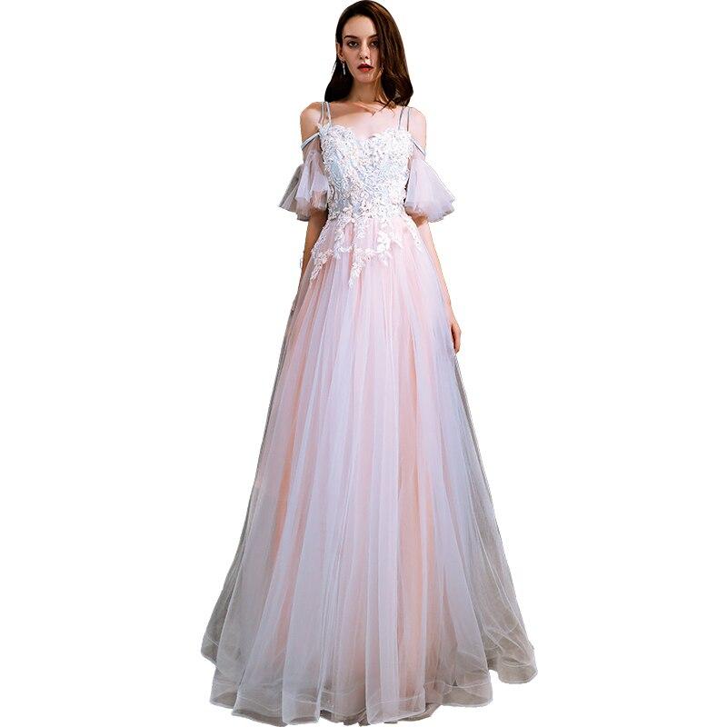 Beauté Emily blanc rose robe de soirée 2019 longue à lacets une ligne formelle fête robe de bal parole-longueur robe de soirée