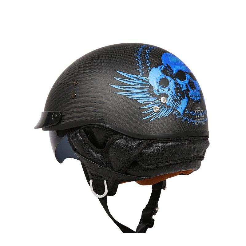 VCOROS carbon fiber retro harley motorcycle helmet open face motobike helmet with inner sun visor vintage cruise moto helmet DOT