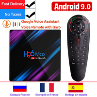 H96 MAX RK3318 Android TV BOX Android 9.0 Smart TV BOX 4GB RAM 32G/64G ROM Google Voice Assistant Play Store Netflix Youtube 4K