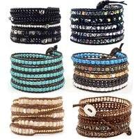 Black Mix Beaded Skull Leather Wrap Bracelet Boho Beadwork Bracelet For Women Fashion Brand Jewelry Wholesale