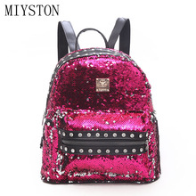 Luxury Brand Designer Women Backpack Female Sexy Rivet Teenager School Bag Dazzling Sequins Womens Bags Mochila Sac A Dos