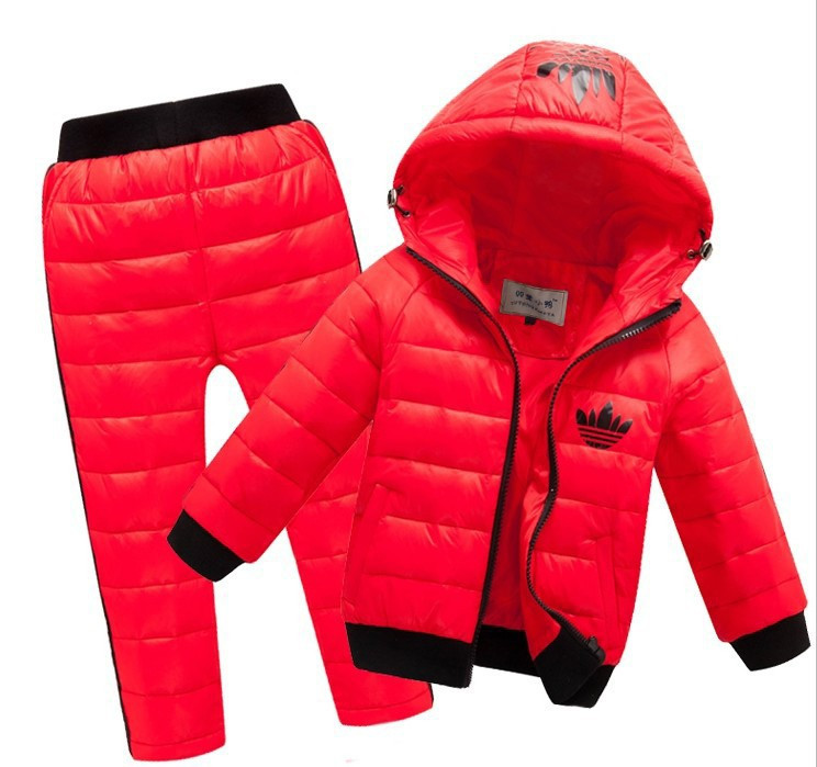 -New-Children-Boys-girls-Clothing-sets-2-8year-Hooded-Down-Jacket-Trousers-Waterproof-Snow-Warm