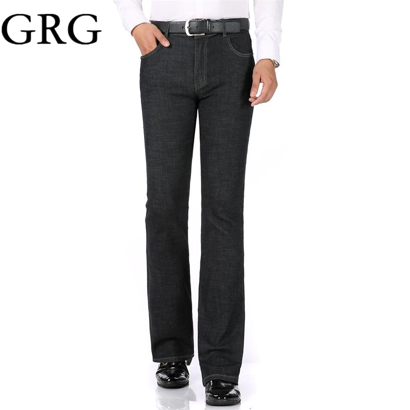 d3c317872977 Free Shipping 2018 High Quality Men Spring Business Casual Jeans Mid Waist  Black blue Flares Bell