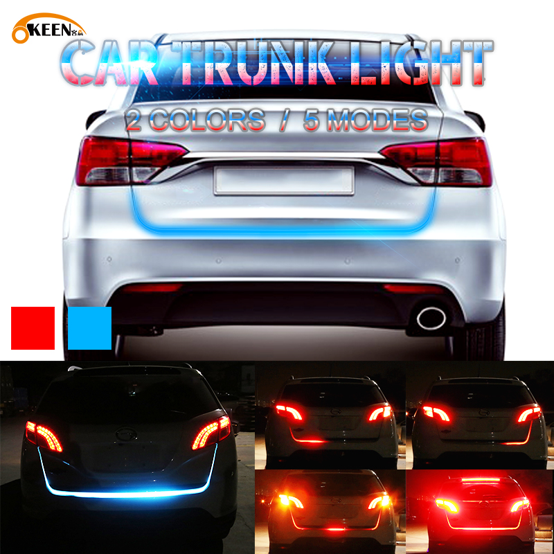 OKEEN car-styling Red Blue car tailgate strip LED trunk strip light bar dynamic following Turn Signal strip 12V Waterproof beler 60 4 function red white tailgate 108 led strip light bar reverse brake turn signal truck suv pickup for vw audi ford kia