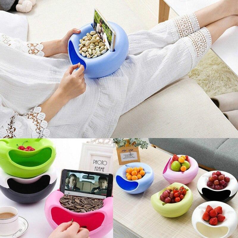 Lazy Fruit Dish Snack Bowl Double-layer Plastic Nut Melon Peels Shells Storage