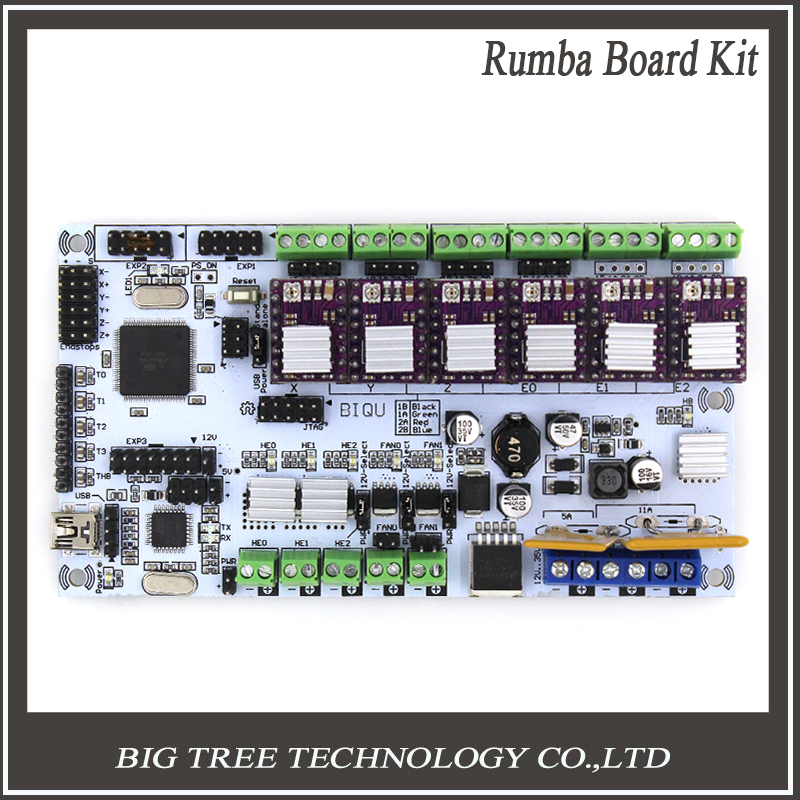 Free Shipping 3D Printer Start Kits Mother Board BIQU Rumba Board With 6pcs Drv8825 Stepper Driver 6pcs Heatsink 3d printer start mother board rumba control board stepper driver 6pcs heatsink for 3d printer accessories