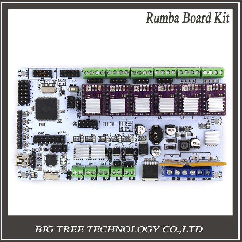 Prix pour Livraison gratuite 3d imprimante commencer kits carte mère biqu conseil rumba avec 6 pcs drv8825 stepper pilote 6 pcs radiateur