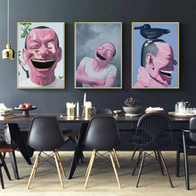 MUTU Wall art Posters Figure Painting Yue Minjun Laughing Man Modem Home Decorates Canvas Paintings For Living Room No Frame(China)