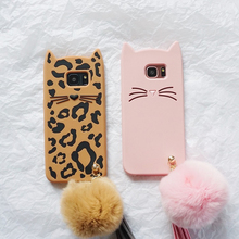Ritozcase 3D Cute Pink Leopard beard Cat with fur ball Case cover For samsung galaxy s6 s6edge s7 s7edge s8 s9 plus phone bag