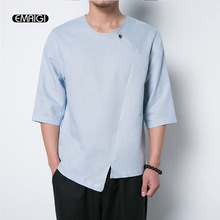 Summer Men Half Sleeve T-shirt Male China Style Solid Color Cotton Linen Tee Shirt