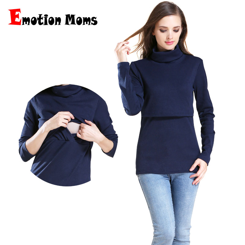 Emotion Moms Solid Turtleneck Long Sleeve Maternity clothes Breastfeeding Tops Nursing Top for Pregnant Women Maternity T-shirt stylish solid color batwing sleeve asymmetrical tops for women