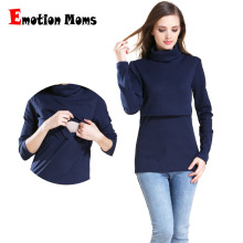 цена Emotion Moms Solid Turtleneck Long Sleeve Maternity clothes Breastfeeding Tops Nursing Top for Pregnant Women Maternity T-shirt