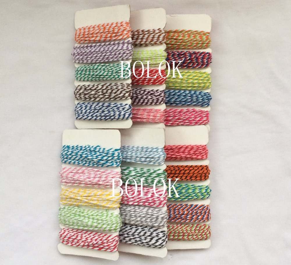 20cards/lot 30 mix Cotton twine,bakers Twine 12ply cotton rope, 5m*5m/card used in gift,greeting card