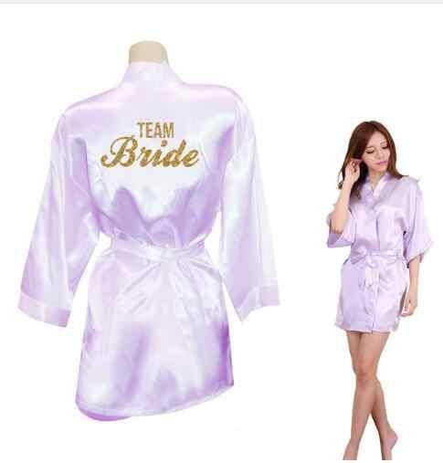 הכלה קראון צוות הכלה זהב נצנצים הדפסת קימונו גלימות פו משי נשים רווקות חתונה Preparewear משלוח חינם