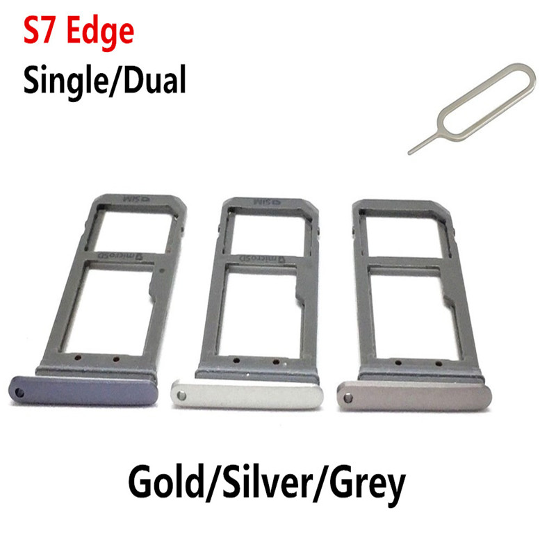 Single/Dual <font><b>SIM</b></font> Card Tray For Samsung Galaxy S7 Edge G935 G935F <font><b>Sim</b></font> Card Holder <font><b>Slot</b></font> Replacement Part with Tool image
