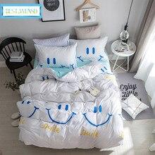 Лучшее. Постельное белье WENSD из мягкого египетского хлопка с принтом улыбающегося лица, 3d постельное белье для мальчиков и девочек с рождественским оленем, постельное белье для детей