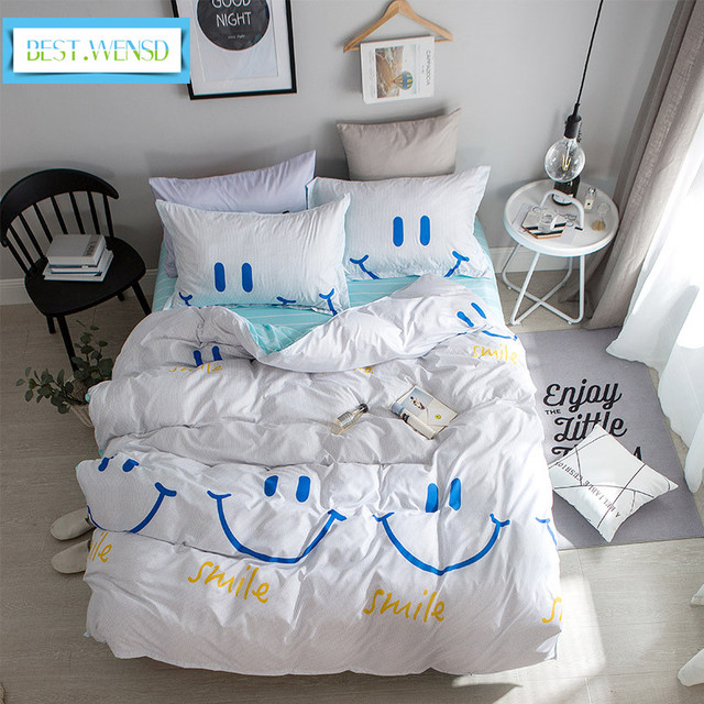 Best Wensd Smiling Face Lattice Printing Soft Egyptian Cotton Bedding Sheets S Boy Christmas Deer Bed Linen For Children