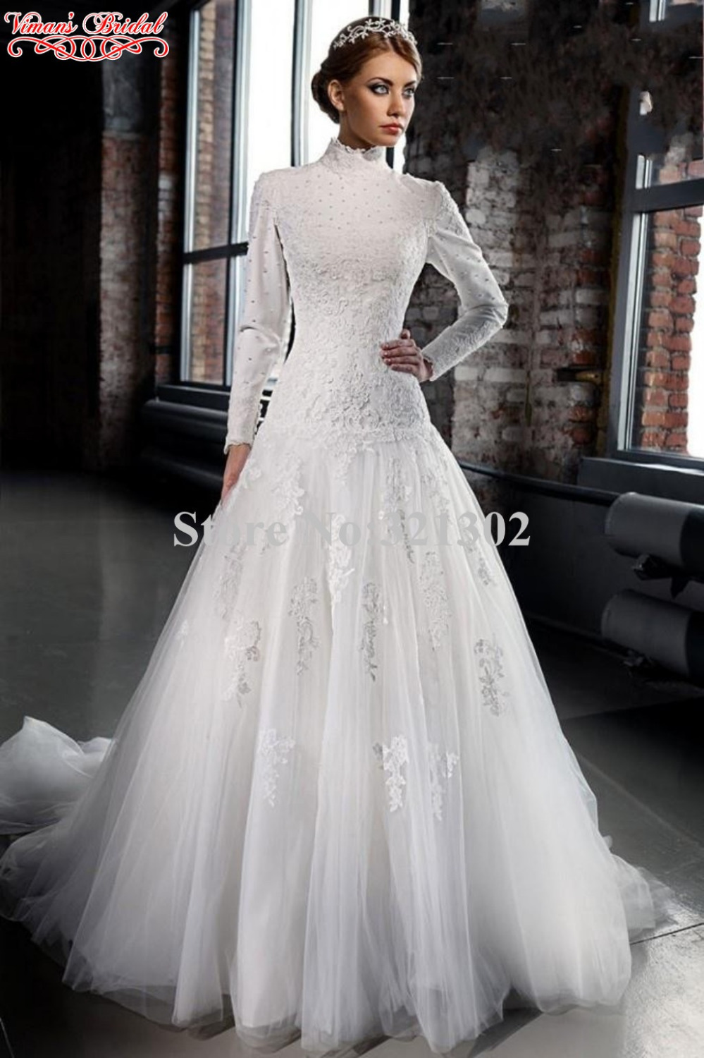 Viman\'s Bridal 2015 Lace Wedding Gown Appliques Beading High Neck ...