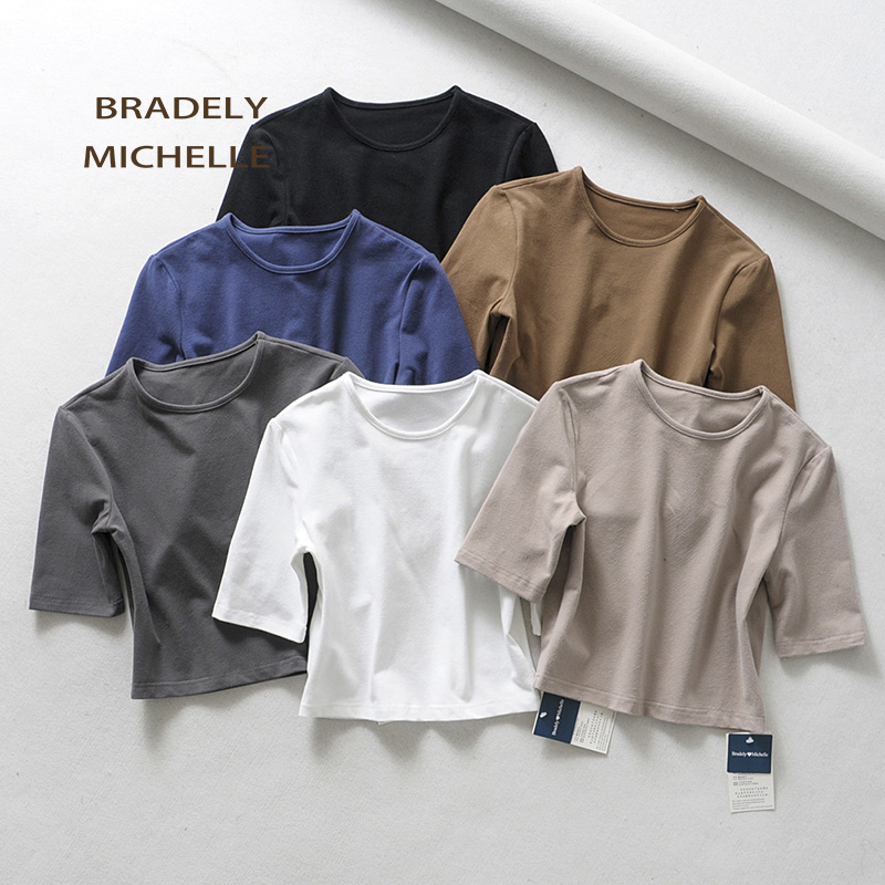 HTB1DsfCajnuK1RkSmFPq6AuzFXaG - BRADELY MICHELLE crop tops for women Sexy female pure cotton o-neck half-length sleeve solid elasticity shirt