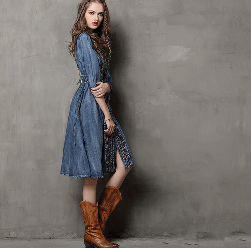 Cm Lange Embrodiry Denim Kleid Vintage Herbst 102 Maxi Fr 80mvnNw