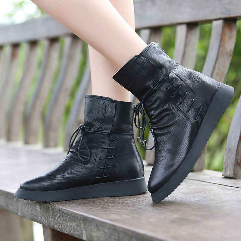 ФОТО Genuine leather lace up boots platform handmade leather teenage girls ankle boots fashion women's autumn boots