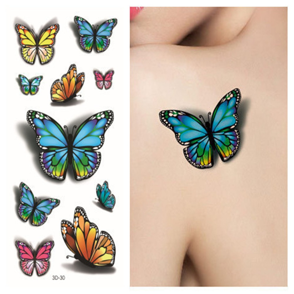 Sexy Tatoo 3d Purple Designs Pastel 3D Butterfly Tattoo Body Art Colored Drawing Waterproof Stickers 3d Stickers rysunek kolorowy motyle