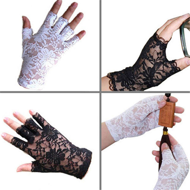 Womens Sexy Dressy Lace Gloves Sunscreen Short Gloves Fingerless Lace Driving Gloves Spring And Summer Mittens Accessories 4