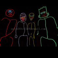 Stick Figure Costume EL Wire Kit TRON Burning Halloween Neon Glow Man EL Stage Wear Free