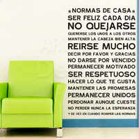 Art Design home decoration Vinyl Spanish home rules words Wall Sticker house decor PVC colorful family quote decals in rooms