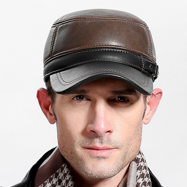 2018 High quality middle aged men's baseball cap leather adult Patchwork adjustable flatcap autumn winter hats