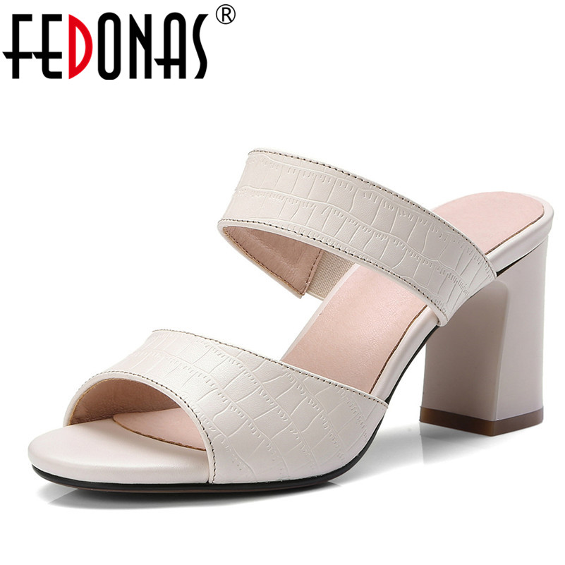 FEDONAS Summer Women Sandals Open Toe Flip Flops Women's Sandles Thick Heel Women Genuine Leather Shoes Woman Gladiator Slippers fedonas brand women summer gladiator low heeled sandals fashion comfort slippers genuine leather elegant shoes woman sandals