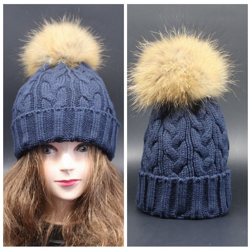 Real Raccoon Fur Ball Cap Pom Poms Winter Hat for Women Girl 's Wool Knitted Cotton Beanies Brand New Thick Female