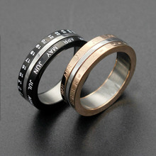 Digital Date Ring Stainless Steel Couple Rings Black Rose Gold Color Lovers Ring Rotatable Fashion Jewelry Size 6-11