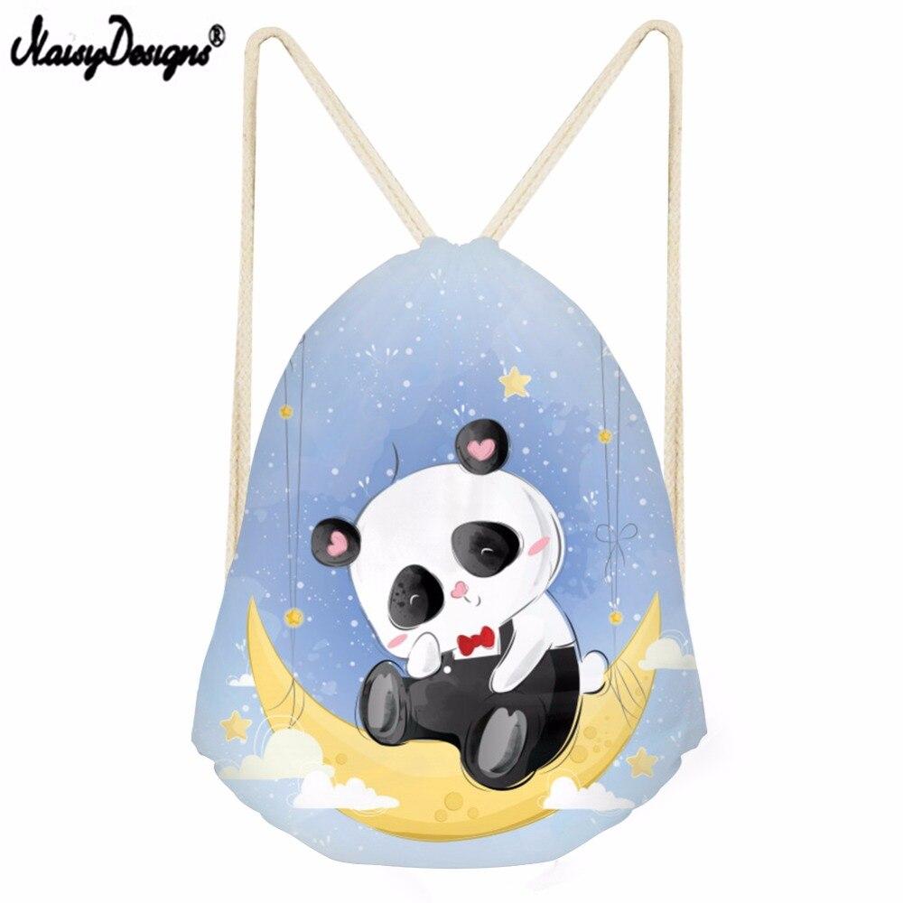 Noisydesigns Small Drawstring Bagk Girls Escolar Mini Backpack Cute Panda Pattern 3D Printed Backpack For Teenagers Shopping Bag