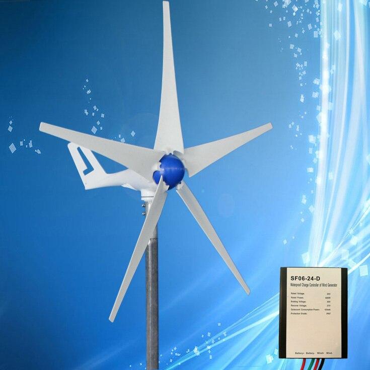 Générateur de vent 400W 12VDC/24VDC avec redresseur intégré, trois ou cinq pales en option + contrôleur de vent, vitesse du vent à faible démarrage