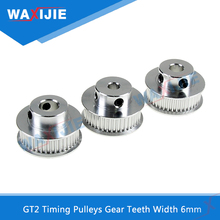 5Pcs/Lot Timing Pulley 2GT Wheels 30 36 40 60 Tooth  Bore 5 6.35 8mm Aluminium Gear Teeth Width 6mm For Reprap 3D Printer Part