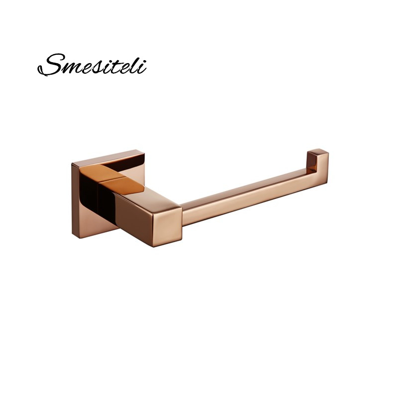 Smesiteli Bathroom Accessories Brass Square Style Rose Gold/Black Washroom Toilet Paper Roll Tissue Holder Hanger Wall Mounted