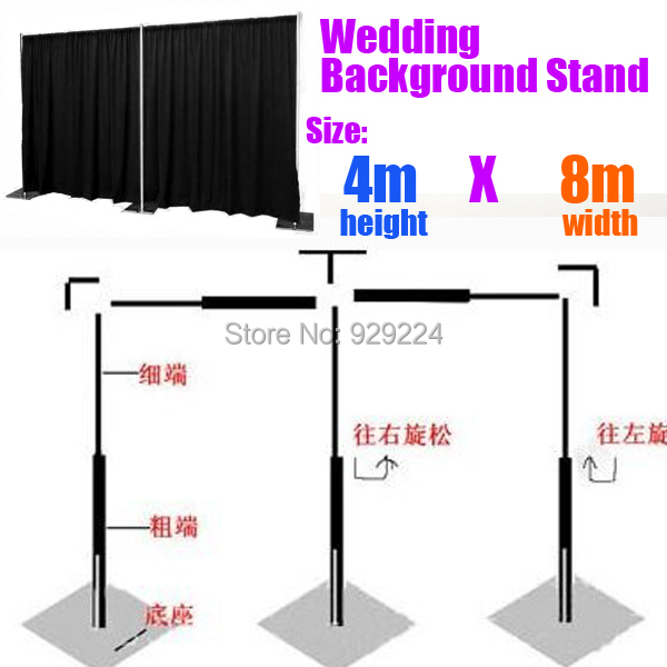 Backdrop Stand For Wedding 4m X 8m Stainless Steel Pipe With Expandable Rods