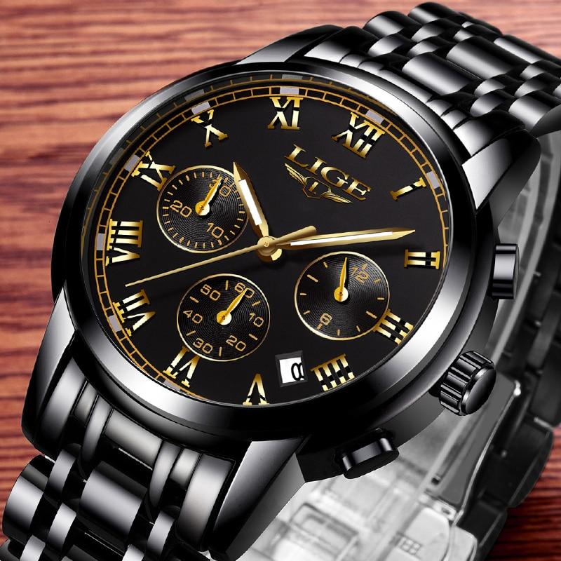 LIGE Black Gold Watch Men Luxury Brand Fashion Business Quartz Watches Mens Multi-function Waterproof Clock Relogio Masculino