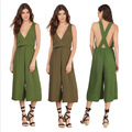 Spring Fashion Casual Solid Plunging V Neck Cross Back Cropped Jumpsuit