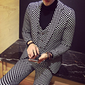 Além de Homens de Tamanho Xadrez Conjuntos de Ternos Moda Masculina Slim Fit 3 Peças Casuais Terno de Negócio Masculino Terno Vestido de Casamento Fase trajes