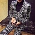 Más el Tamaño de Los Hombres de la Tela Escocesa Trajes Conjuntos de Moda Masculina Slim Fit 3 Unidades de Negocios Informal Traje Masculino Vestido de Novia Traje de la Etapa disfraces