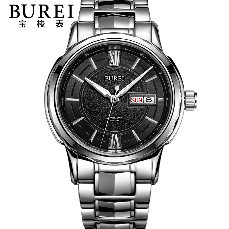 BUREI Brand Mens Sapphire Stainless Steel Automatic Mechanical Watch Waterproof Fashion Wristwatches With Premiums Package 15031 burei brand crystal sapphire men sports automatic mechanical watch waterproof male wristwatches with premiums package 15009