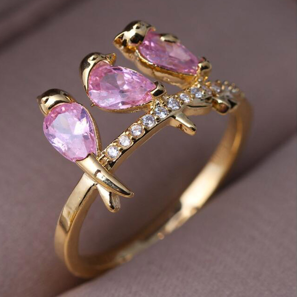 Interesting Three Bird Tree Branches Ring Hot Sale! Creative Branches Golden Color Bird Ring Fashion Gilr Cute Jewelry