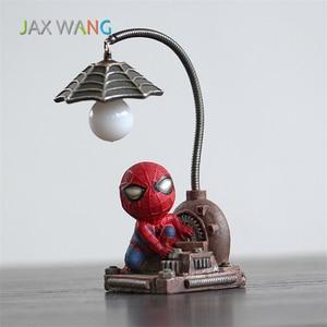 Image 2 - Super Spiderman Avengers Union 3 Led Nacht Licht Harz Handwerk kinder Home Desktop Tisch Lampe Figuren Geburtstag Weihnachten Hochzeit geschenke