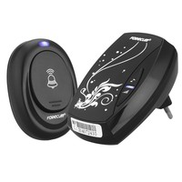 Waterproof Black Doorbell EU Plug In 220V AC Digital LED Music 100M Range Wireless Remote Control