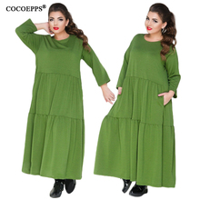 COCOEPPS New Loose 5XL 6XL Plus Size Dress Women Solid Long Sleeve Casual Long Maxi Dress Large Size 2018 Spring Women Clothing