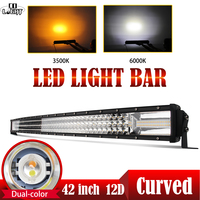 CO LIGHT 12D Led Light Bar 42 648W White Amber Flash Led Bar Offroad Spot Flood Combo Work Light 12V for Boat Tractors Jeep ATV