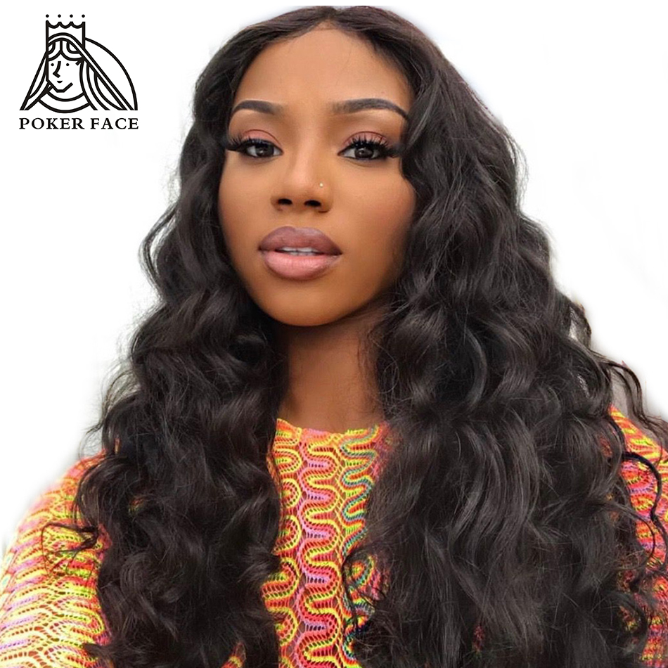 Wig Hair-Lace-Wig Poker-Face Frontal Human Natural-Color Wave 360 Peruvian Loose  title=