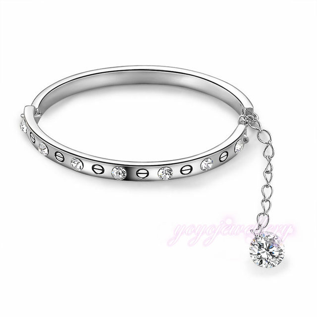 Mytys White Gold Color High Quality Fashion Tiny Bangle Bracelet Extender Chain Adjule Length Crystal Jewelry